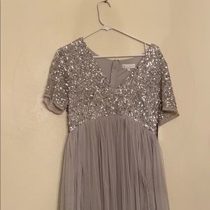 Maya deluxe silver sequin maternity dress